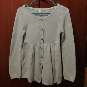 Grey babydoll sweater cardigan with plaid buttons